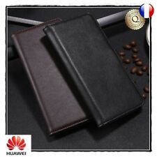 Etui coque Housse Cuir Genuine Split Leather Stand Wallet case Huawei Honor 9 10