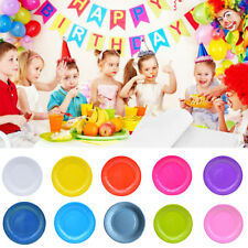 20PCS ROUND DISPOSABLE PAPER PLATE SOLID COLOR KIDS CATERING PARTY TABLEWARE ALL
