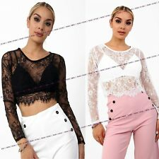 Womens Ladies Scoop Neck Long Sleeved Lace Mesh Floral Top Bra Set Top Shirt