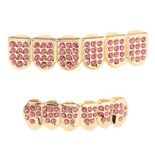Placcato oro 18k ICED OUT Griglie per denti 4 file Vanghe di cristallo Fangs