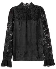 Erdem H&M Silk Blouse Floral Jacquard With Lace Black 6 8 10 12 EU 34 36 38 BNWT