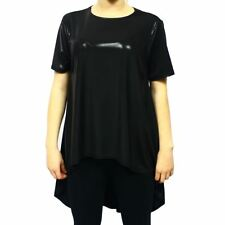 Black wetlook short sleeve top with dipped hem