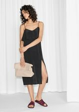 & Other Stories 100% Mulberry Silk Flounce Slip Dress UK 12 10 14 16 (H&M Group)