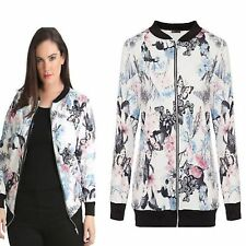 New Women's Ladies Long Sleeve Butterfly Floral Printed Bomber Jacket Zipper Top