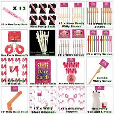Hen Party Night Accessories - Willy Straws, Boppers, Shot Glasses, Water Pistols