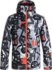 Quiksilver Arkaid Black-White Mission Printed Kids Snowboarding Jacket