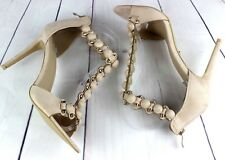 WOMENS BEIGE HIGH HEEL PEEP TOE T-BAR ANKLE STRAP COURT SHOES SANDALS SIZE 3-7