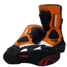 Honda Repsol Cowhide Leather Boot Motorcycle Biker's Racing Shoes MotoGP