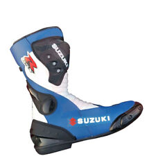 Suzuki New Custom Motorbike Cowhide Leather Boots Motorcycle Racing Shoes MotoGP