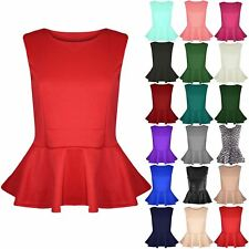 Ladies Sleeveless Plain Womens Round Neck Party Stretchy Flared Frill Peplum Top