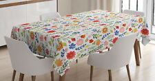 Watercolor Garden Tablecloth by Ambesonne 3 Sizes Rectangular Table Cover Decor