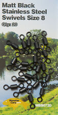 Carp Terminal Tackle 20 x Matt Black Stainless Steel Swivels Size 8