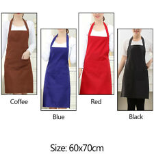 Plain Apron W/Front Pocket For Chef Butcher Kitchen Cooking Baking BBQ NEW