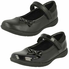 GIRLS CLARKS HOOK & LOOP MARY JANE LEATHER PATENT SCHOOL SHOES VENTURE STAR SIZE