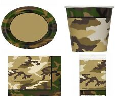 Military Camouflage Birthday Party Tableware Plates Cups Napkins Tablecover