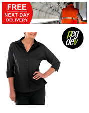 WOMENS LADIES PREMIUM WORKWEAR BLACK WORK BLOUSE SHIRT SIZES 8-20 HGCCLBBL