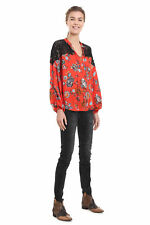 Desigual Red Floral Ketty Blouse Loose Lace Shoulders XS-XXL UK 8-18 RRP£74