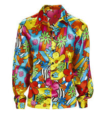 Mens Hippie Flower Power Shirt 60s 70s Woodstock Groove Flower Power Fancy Dress