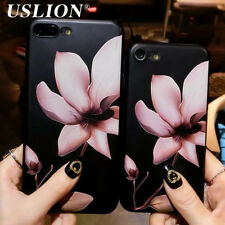 Fashion 3D White Flower Paint Phone Case For iPhone 5 6 7 8 10 Vintage Soft TPU