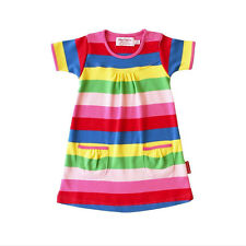 SALE! RRP £21.99. Toby Tiger Girly Stripe Short Sleeve Dress. Organic cotton.