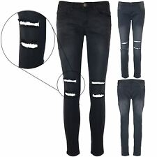 Ladies Womens Destroyed Denim Ripped Knee Cut Out Faded c Fit Stretch Jeans
