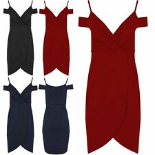 Womens V Neck Cold Cut Shoulder Asymmetric Front Wrap Over Strappy Bodycon Dress