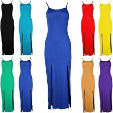 Womens Ladies Sleeveless Front Double Split Slit Cami Summer Strappy Maxi Dress
