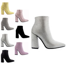 Ladies High Heel Winter Pointed Toe Casual Evening Ankle Chelsea Boots All Sizes