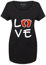Maternity T shirts Pregnancy Shirts Top Tunic Outfit Love Baby Footprint