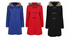 NEW LADIES LONG DUFFLE COAT WITH FAUX FUR LINED HOOD BLACK BLUE RED(SIZE: 10-24)
