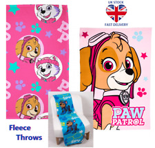 PAW PATROL SNUGGLE THROW BLANKET Blue Chase Code & Pink Skye Stars 100% Fleece