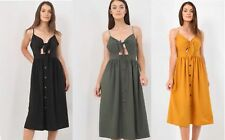 Womens Holiday Strappy Buttons Knot Ladies Summer Beach Midi Swing Dress 8-14