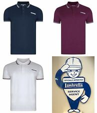 Lambretta Clothing Polo Shirt Plum Navy White Black Top Slim Fit Mod 60s S-XXL