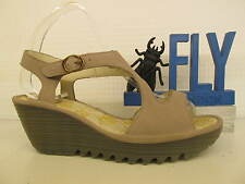 Fly London Yanca Cupido Concrete Taupe Leather Ladies Open Toe Wedge Sandal Shoe