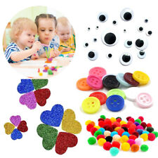 Kids Crafting Colour Buttons Pom Poms googly eyes Glitter foam stickers Activity