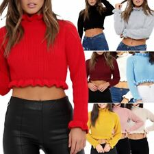 Womens Ladies Ruffle Frill Edge Plain Knitted Chunky Crop Jumper Sweater Top