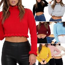 Women's Ruffle Frill Edge Plain Knitted Chunky Crop Jumper Sweater Top SM - ML