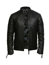 Brandslock Mens Genuine Leather Biker Jacket Vintage Bomber
