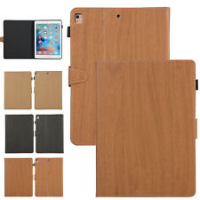 Wood Grain Leather Smart Stand Folio Case Fr iPad 5th/6th Gen/Air 2/Mini/Pro 9.7