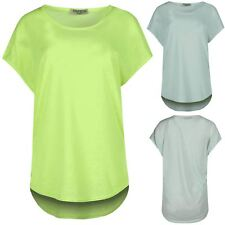 Womens Casual Party Oversized High Low Round Neck Ladies Baggy Mini Top T Shirt