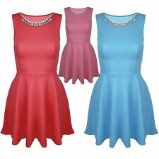Womens Ladies Flared Diamante Necklace Sleeveless Jewel Skater Mini Dress Top