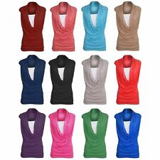 Womens Ladies Ruched Cowl Neck Vest 2 In 1 Sleeveless Jersey T Shirt Tank Top