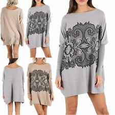 Womens Ladies Sequin Knit Lagenlook Printed Oversize Baggy Poncho Festival Dress