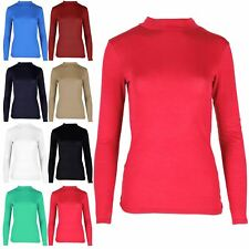 Womens Classic Stertchy Jersey Long Sleeves Mini Tee Shirt Turtle Top Plus Sizes