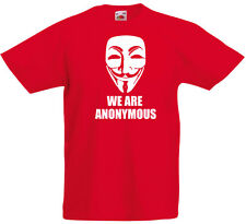 We Are Anonymous, V For Vendetta Ispirato Bambini T-Shirt Stampata