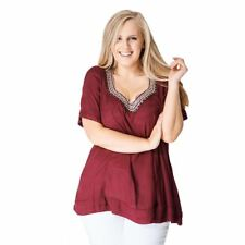 Wine loose fitting short sleeve top with sequined v-neck