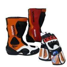 Honda Repsol Motorcycle Shoes Cowhide Leather Motorbike Boots MotoGP Gloves