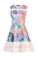Ladies Mesh Insert Floral Skater Dress Girls Flare Party Fashion Dresses UK 8-12