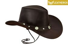 New Leather Cowboy Western Aussie Style Hat with CONCHOS