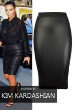 Womens Ladies Pencil Wiggle Bodycon High Waist Wet Look Faux Leather Midi Skirt